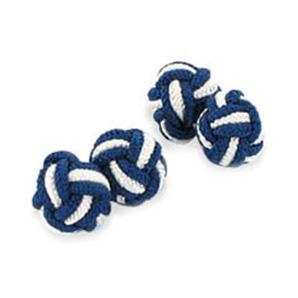 Navy And White Silk Knot Cufflinks
