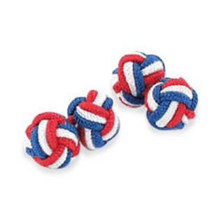 Red White And Blue Silk Knot Cufflinks