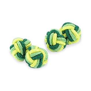 Dark Green Yellow And Green Silk Knot Cufflinks