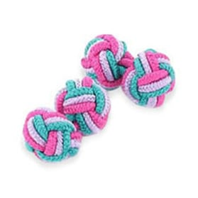 Turquoise Lilac And Cerise Silk Knot Cufflinks