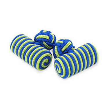 Royal Blue And Green Silk Knot Cufflinks