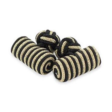 Black And Gold Lurex Silk Knot Cufflinks