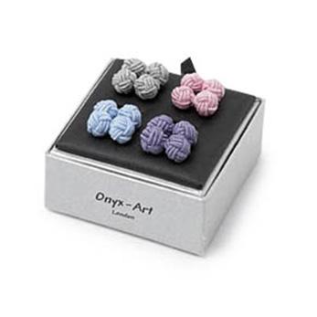 Pastel Coloured Silk Knot Cufflinks Set
