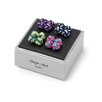 Multi Coloured Silk Knot Cufflinks Set