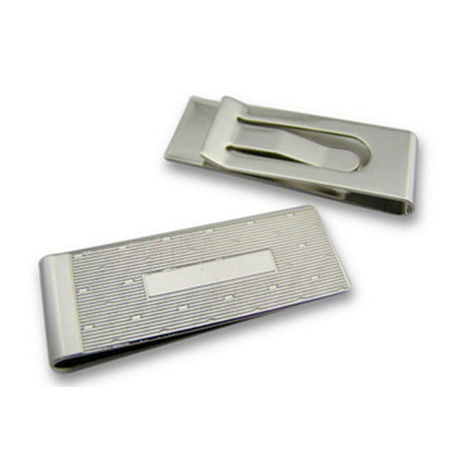 Lined Silver Money Clip