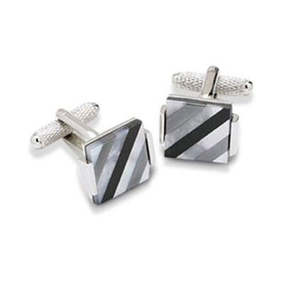 Grey And Black Stripes Mop Cufflinks