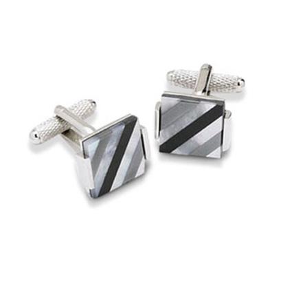 Grey And Black Stripes Mop Cufflinks