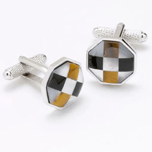 Multicoloured Squares Mop Cufflinks