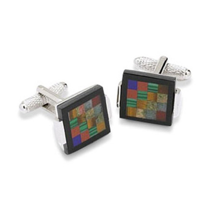 Multicoloured Checked Mop Cufflinks