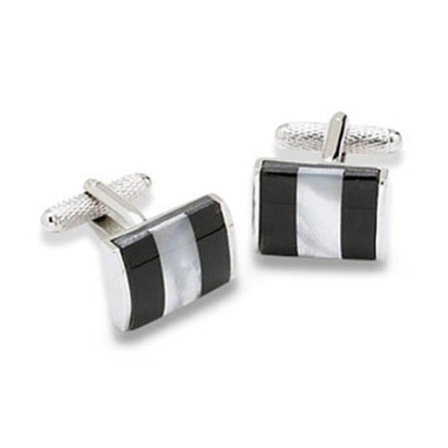 Black And White Striped Cufflinks
