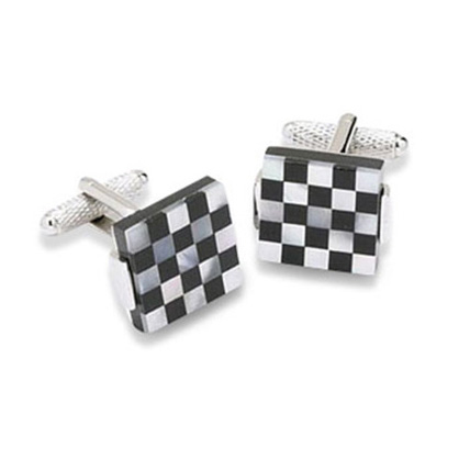 Black And White Checked Mop Cufflinks