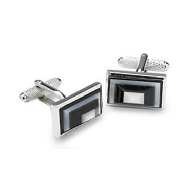 Black And Grey Rectangles Mop Cufflinks
