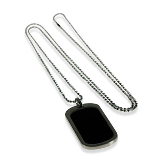 Brush Rhodium Black Pendant