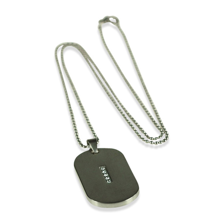 Crystal Dog Tag Pendant