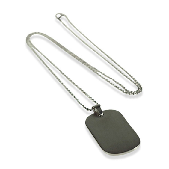 Brushed Rhodium Dog Tag Pendant