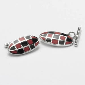 Red And Black Mop Checked Cufflinks