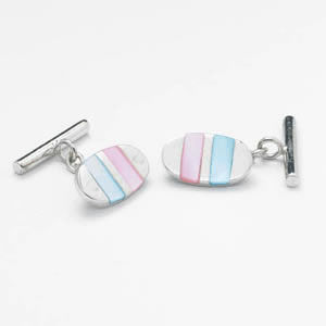Pink And Blue Mop Chain Cufflinks