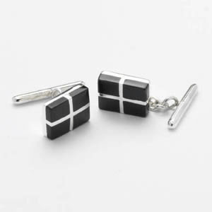 Black And Silver Cross Mop Chain Cufflinks