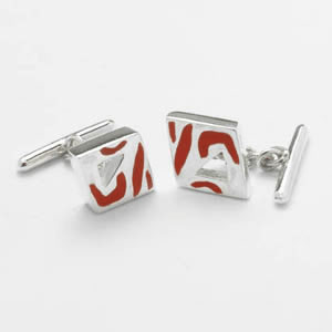 Red Mop Chain Cufflinks