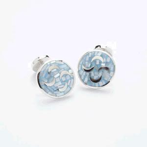 Mosaic Blue Silver Cufflinks