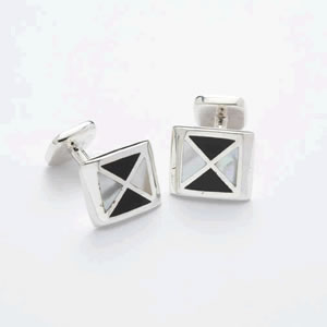 Lopez Black Silver Mother Of Pearl Cufflinks