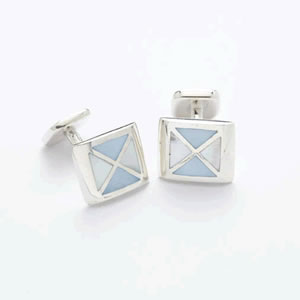 Lopez Blue Silver Mother Of Pearl Cufflinks