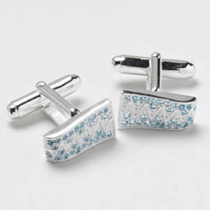 Silver Zigzag Light Blue Cz Cufflinks