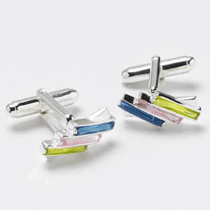 Blue Pink And Yellow Sterling Silver Cz Cufflinks