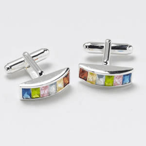 Convex Multicoloured Cz Cufflinks