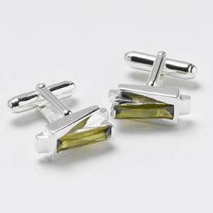 Silver Green Cz Cufflinks