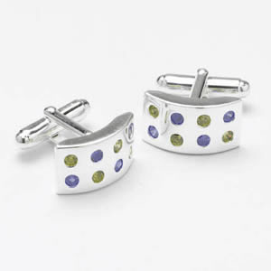 Silver Multicoloured Cz Dotted Cufflinks