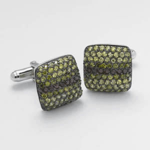 Square Yellow And Red Cz Cluster Cufflinks