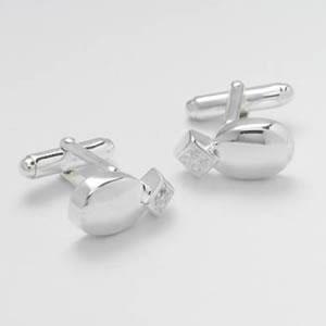 Oval Silver Clear Cz Cufflinks