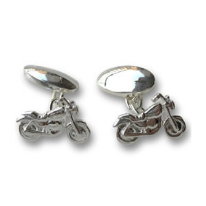 Sterling Silver Motor Bike Cufflinks
