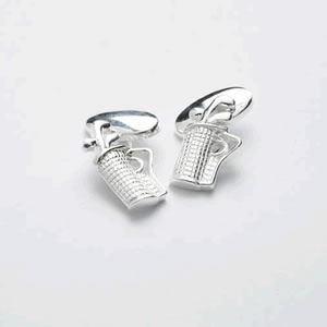 Silver Golf Clubs And Bag Chain Cufflinks