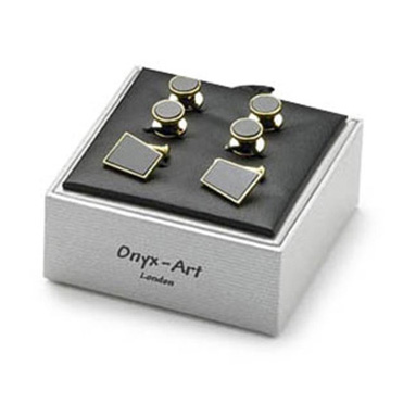 Trapezium Black Onyx Dress Studs Box Set