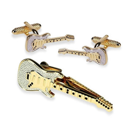 Guitar Gold Tie Bar Set