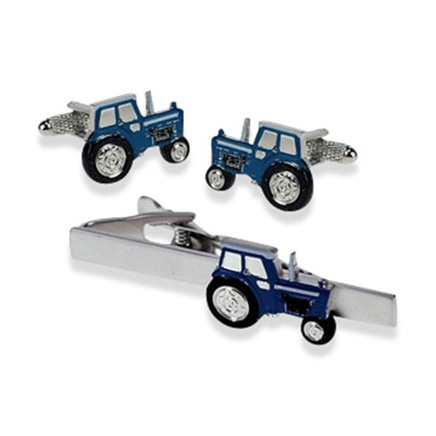 Tractor Blue Tie Bar Set