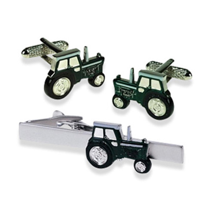 Tractor Green Tie Bar Set