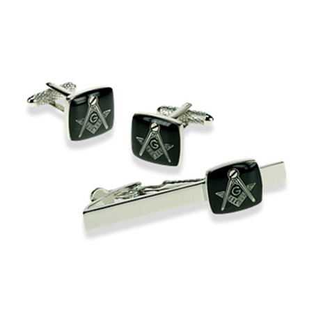 Masonic G Black Tie Bar Set