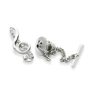 Treble Clef Clear Crystal Tie Pin