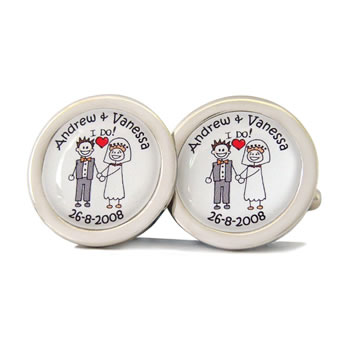 Bride And Groom I Do Character Cufflinks