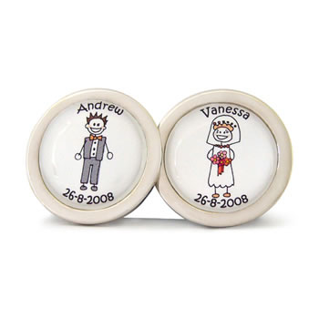 Bride And Groom Separate Character Cufflinks