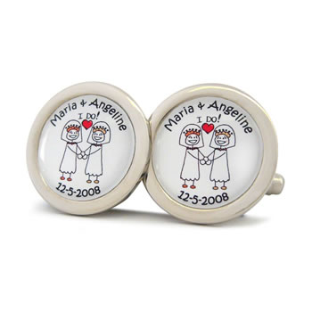 Civil Partnership I Do Brides Character Cufflinks