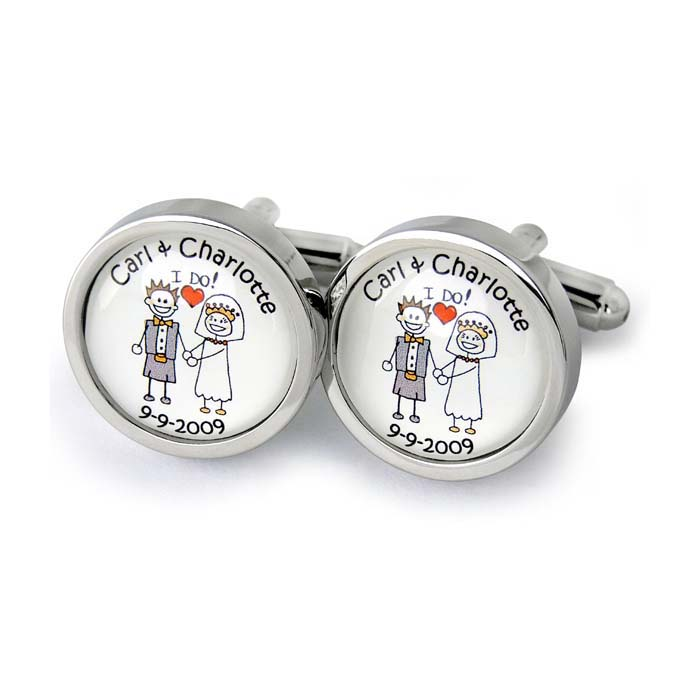 Scottish Kilt I Do Bride And Groom Character Cufflinks