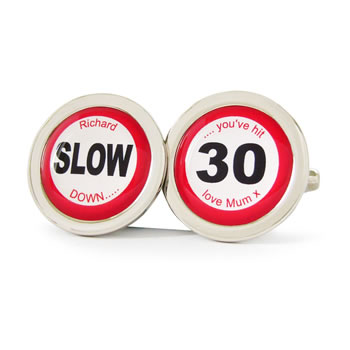You've Hit 30 Road Sign Cufflinks