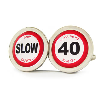 You've Hit 40 Road Sign Cufflinks