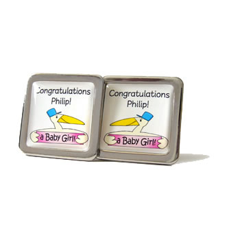 Stork Personalised Pink Cufflinks