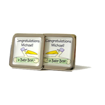 Stork Personalised Green Cufflinks