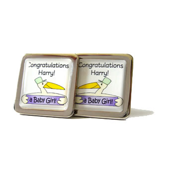 Stork Personalised Lilac Cufflinks